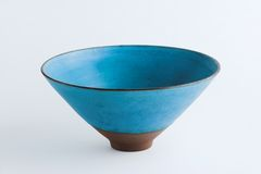 Bowl. Privately made blue bowl (white background Royalty Free Stock Photos