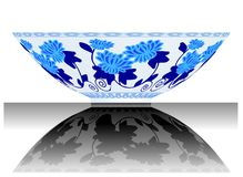Bowl. A vector, illustration for a China porcelain, pottery, bowl, reflection Stock Image