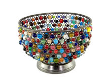 Bowl. Beaded bowl isolated on white Royalty Free Stock Images