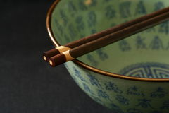 Bowl. Chinese bowl isolated on a blackbackground. No trademark or logo shown stock image