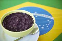 Bowl of Acai Açaí Jussara on Brazilian Flag Royalty Free Stock Images