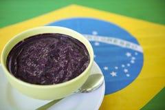Bowl of Acai Açaí Jussara on Brazilian Flag Royalty Free Stock Images