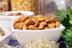 Bowl of Almonds Stock Images