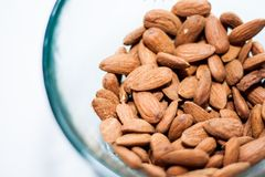 Bowl of almonds. With selective focus Royalty Free Stock Photography