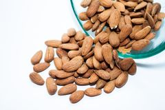 Bowl of almonds. With selective focus Stock Photos