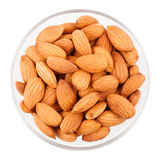 Bowl With Almonds, Top View Royalty Free Stock Image
