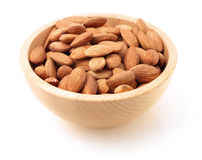 Bowl of almonds on white Royalty Free Stock Image