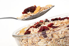 A bowl of American breakfast cereal and dry fruit Stock Images