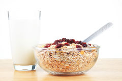 A bowl of American breakfast cereal and dry fruit Royalty Free Stock Photo