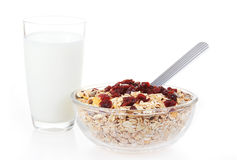 A bowl of American breakfast cereal and dry fruit Royalty Free Stock Photos