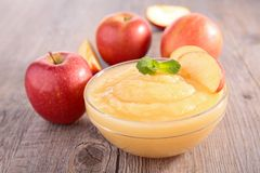 Bowl of apple sauce Royalty Free Stock Photo