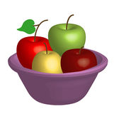 Bowl with Apples. 3D Fruit Bowl with Apples, isolated, jpg, vector Royalty Free Stock Photos