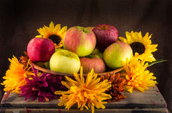 Bowl of Apples and Flowers Royalty Free Stock Photo