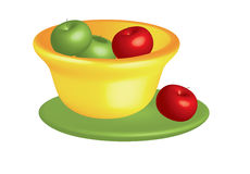 Bowl With Apples On White Stock Images