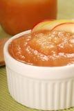Bowl of applesauce with apple garnish. Fresh homemade applesauce with apple garnish Royalty Free Stock Photos