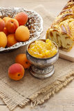 Bowl of apricot jam Stock Image