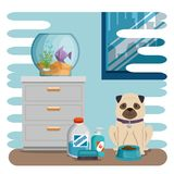 Bowl aquarium with fish and dog. Vector illustration design Royalty Free Stock Images