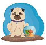 Bowl aquarium with fish and dog. Vector illustration design Royalty Free Stock Photo