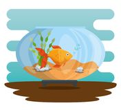 Bowl aquarium with fish. Vector illustration design Stock Photo