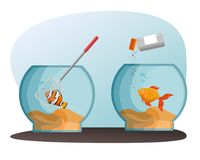 Bowl aquarium with fish. Vector illustration design Stock Images