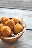 Bowl of arancini. Rice balls with mozzarella Royalty Free Stock Photo