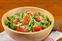 Bowl of Arugula Salad #1. A bowl of Arugula salad with tomatoes and shaved almonds #1 stock image