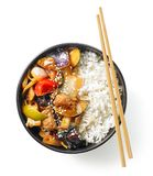Bowl of asian food stock images
