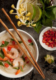 A Bowl of Asian Noodle Soup with Prawns Stock Photos
