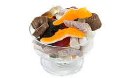 Bowl of assorted candy. Picture of a glass bowl with assorted candy in it stock photo