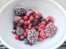 Bowl of assorted fresh frozen berries. With blueberries, blackberries, raspberry, strawberry and cherries conceptual of a healthy diet and nutritious superfoods Royalty Free Stock Photos