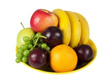 Bowl of assorted fresh fruit, isolated Stock Photos