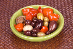 Bowl of assorted olives Stock Images