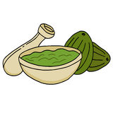 Bowl with Avocado and Guacamole Stock Images