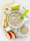 Bowl of baby food. Healthy breakfast porridge, top view Stock Photo