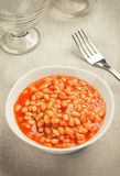Bowl of baked beans in tomato sauce Royalty Free Stock Image