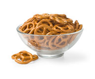 Bowl with baked pretzels Royalty Free Stock Images