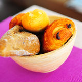 Bowl of bakeries. Continental breakfast bakery in a bowl stock photography