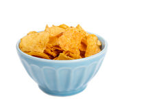 Bowl of Barbecue Flavored Potato Chips Isolated on White Royalty Free Stock Photo