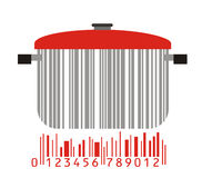 Bowl and barcode Stock Photography