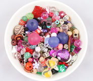 Bowl of beads and buttons. Craft supplies Stock Images