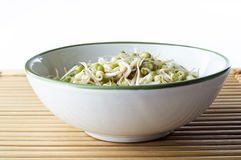 Bowl of Beansprouts on Bamboo Placemat Royalty Free Stock Photography