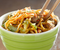 Bowl of beef lo mien in a bowl with chopsticks Royalty Free Stock Photography