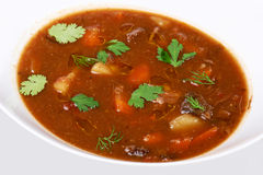 A bowl of beef vegetable soup Stock Photography