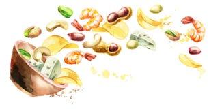 Bowl of beer snacks. Watercolor. Owl of beer snacks. Watercolor. Hand-drawn horizontal illustration stock illustration