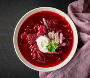 Bowl of beet root soup borsch Royalty Free Stock Photos