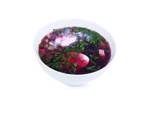 Bowl with beetroot soup Stock Photography