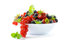 Bowl with berries. A white bowl with blue and red berries, garnished with mint and balm leaves. Isolated on a white background royalty free stock images