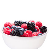 A Bowl with Berries. Blueberries, Raspberries and Blackberries in a Bowl on white Background Stock Photography