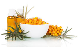 Bowl of berries and sea buckthorn oil in small bottles. Stock Photo