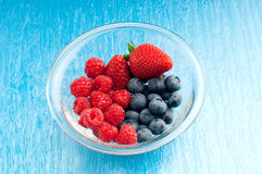 Bowl of berry mix Stock Photography